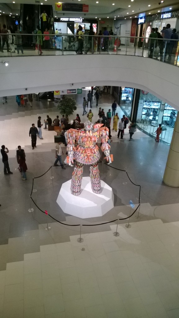Statue made of plastic cans at Phoenix mall Chennai