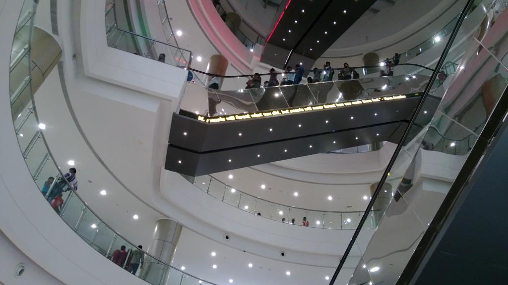 Quotes running on elevator railing bottom at Phoenix mall, Velachery, Chennai