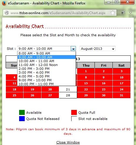 Online Sudharsanam booking availability chart-Tirupati